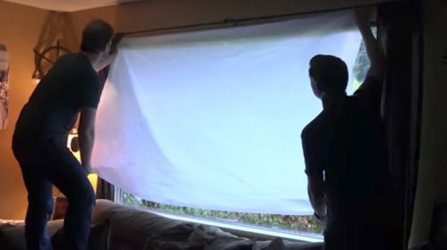 Installing a curtain of AtmosFX window projection material