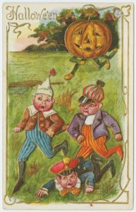 A drawing showing an old-fashioned Halloween tradition