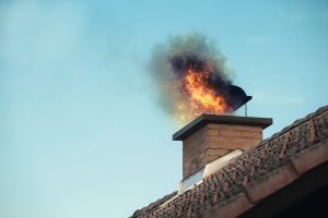 A raging chimney fire.