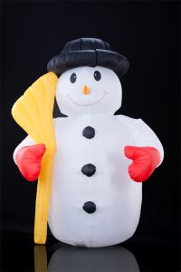 Inflatable snowman decorations.