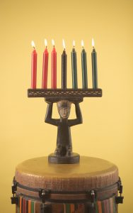 A Kwanzaa kinara decoration.