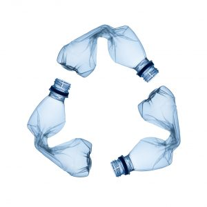 Plastic bottles to be recycled.