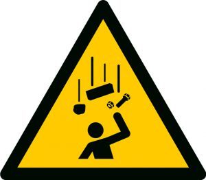 A warning sign for falling objects.