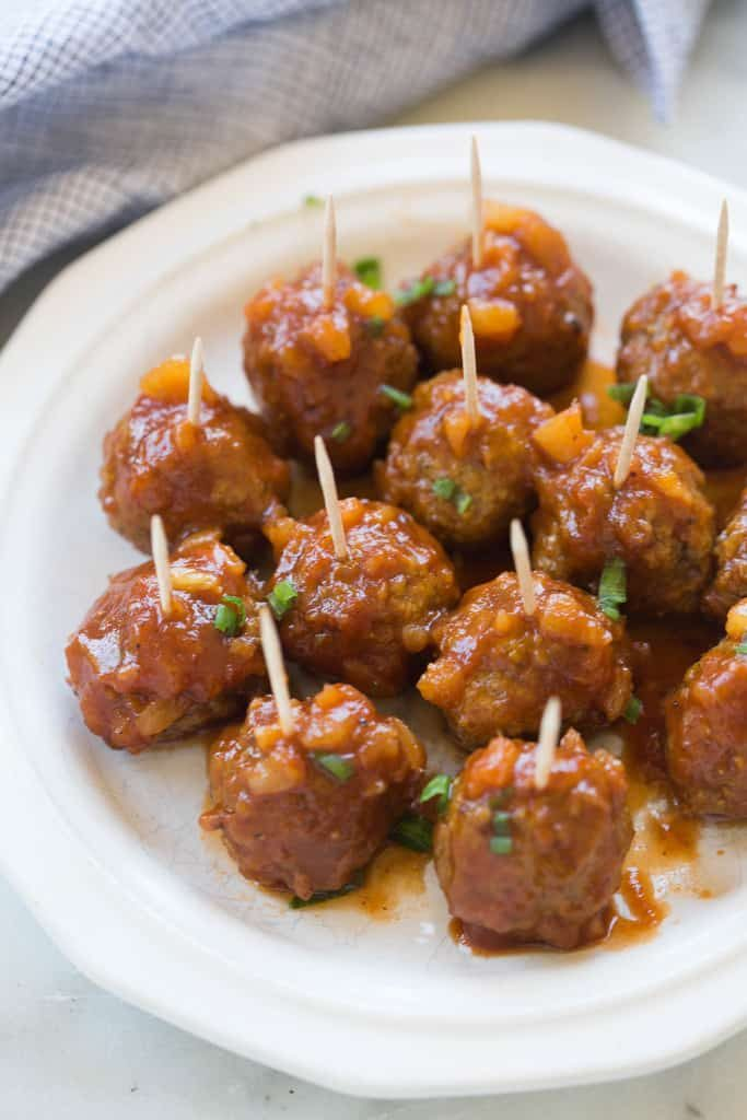 A photo of Hawaiian barbecue meatballs