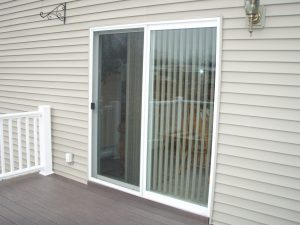 A vinyl patio door.