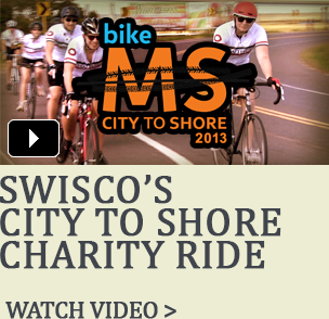 Watch Team SWISCO participate in the MS City To Shore charity ride.
