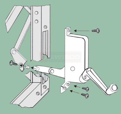 Instructional drawing on how to install the 39-025 awning window crank operator.