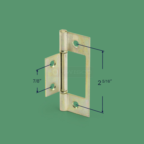 Alternate view with different dimensions of the 23-401 closet door hinge.