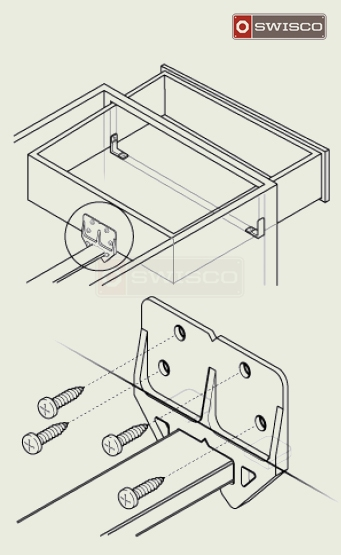 Diagram displaying how the drawer guide is attached.