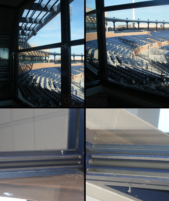 User submitted photo of their balances used in the windows at the Peoria baseball stadium.