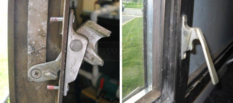 User submitted photo of their broken window latch handle.
