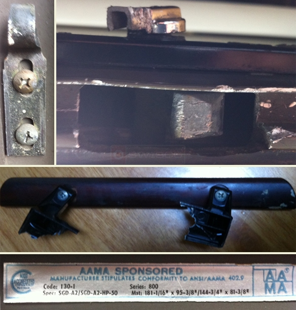 User submitted photos of patio door handle and hardware.