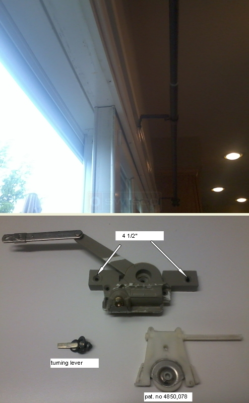 User submitted photo of patio glass door top view, window operator, latch and roller.