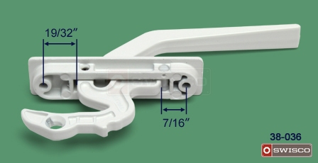 Alternate image of the <a href='White-Lock/pd/Locks-for-Awning_Casement_Hopper-Windows/38-036'>38-036</a>, showing distance from hole center to latch hook.