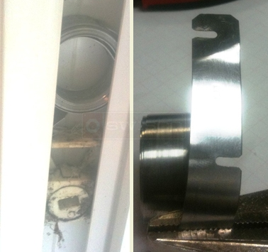 User submitted photo of end of coil balance and coil and shoe in sill.