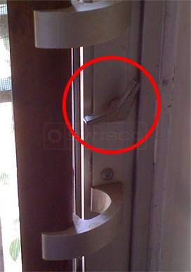 User submitted photo of sliding glass door knob.