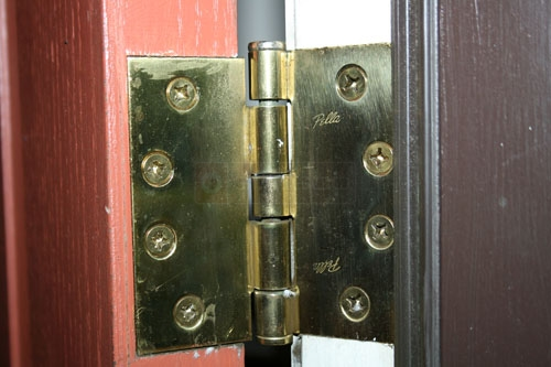 User Submitted Photo Of Their Pella Wood Door Hinge.