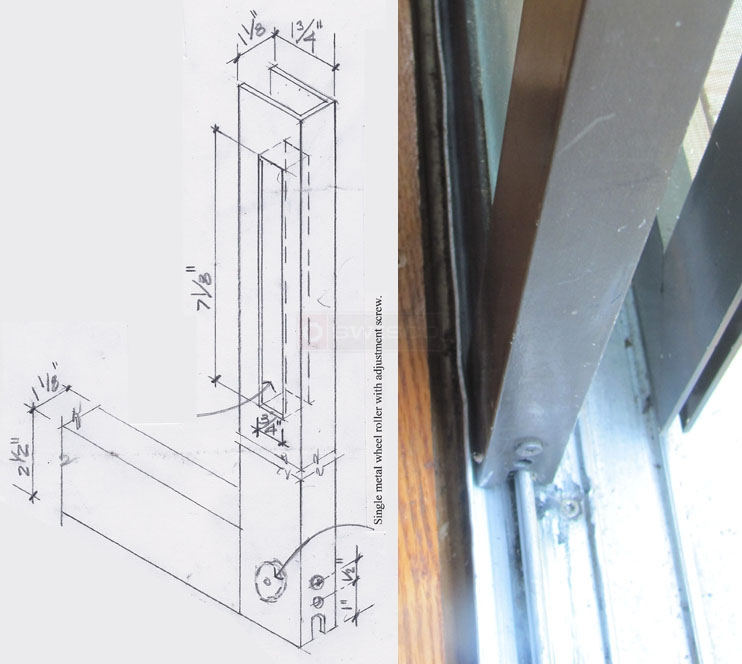 User submitted photo and drawing of their sliding glass door.