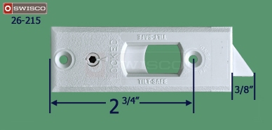"Alternate measurements of the Swisco 26-215 Neutral Top Tilt Latch, 2-1/2""."