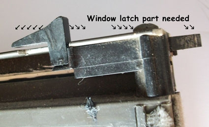 User submitted photo of the side view of their Acorn tilt window latch.