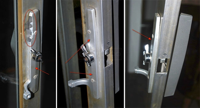 User submitted photos of their sliding door handle set.