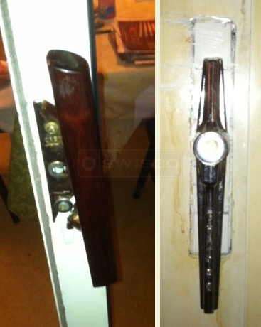 A customer submitted photo of a sliding glass door handle.