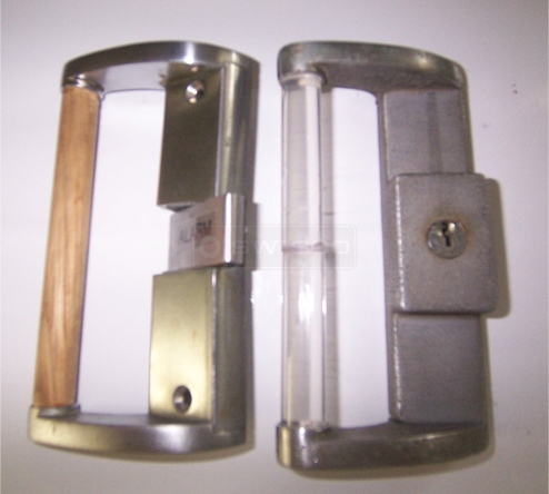 A customer submitted photo of a patio door handle.