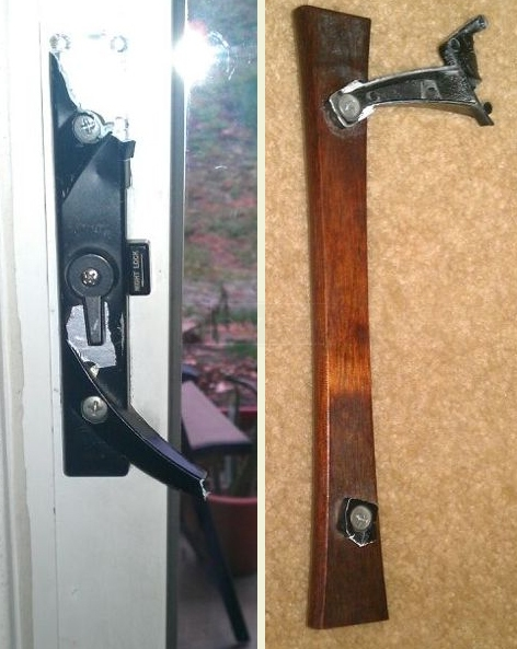 A customer submitted photo of a patio sliding door handle.
