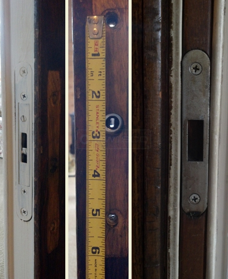User submitted picture of sliding door showing screw hole measurements and locking system.