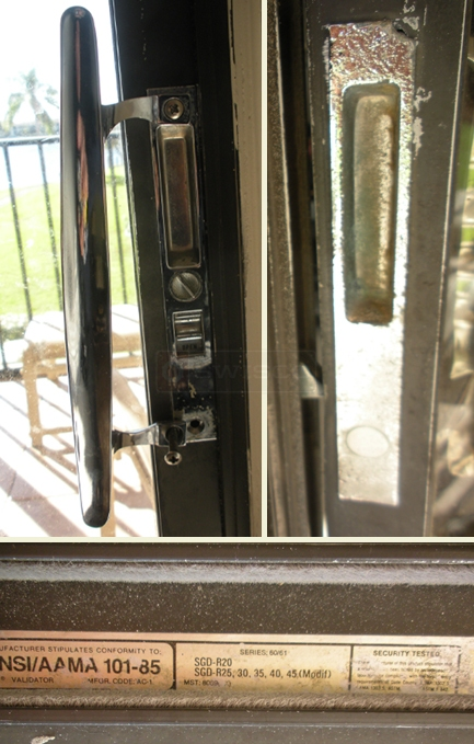 A customer submitted photo of a sliding patio door handle.