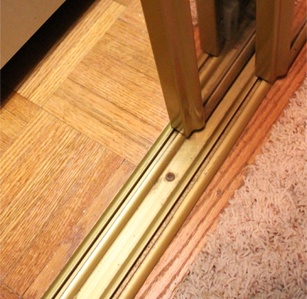 A customer submitted photo of a mirror door track.