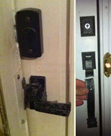 A customer submitted photo of their inside and outside door handle.