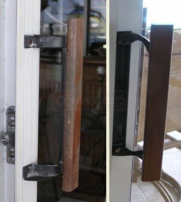 A customer submitted photo of a sliding door handle.