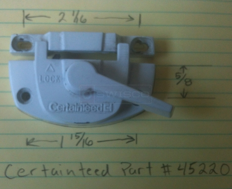 User submitted picture of Certainteed window part.