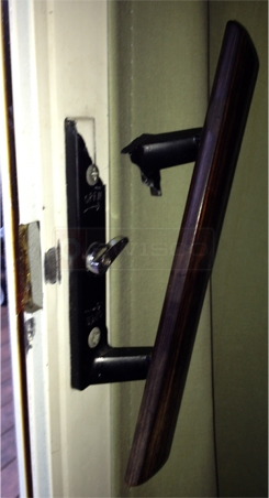 A customer submitted photo of a sliding door handle set.