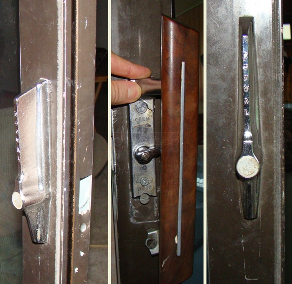 User submitted picture of Acorn patio door hardware, handle and locking mechanicsm.