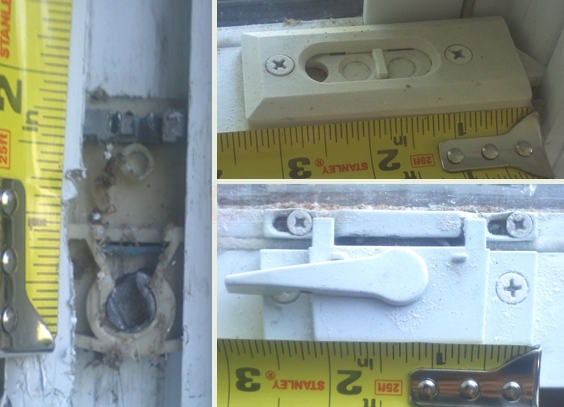 A customer submitted photo of a window lock, pivot shoe, and tilt latch.