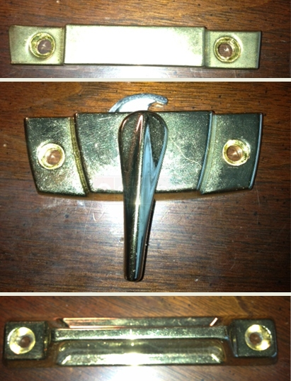 A customer submitted photo of a window lock, keeper, and lift.