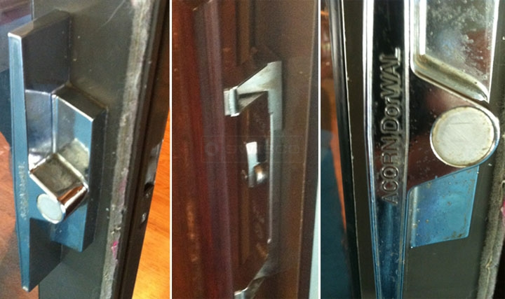User submitted photos of their existing Acorn DorWAL sliding glass door handle set