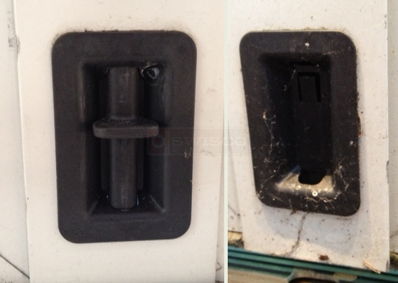 A customer submitted photo of a door latch.