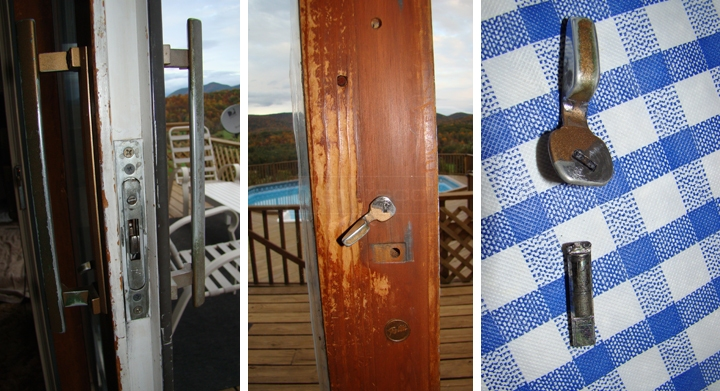 User submitted photos of sliding glass door hardware.