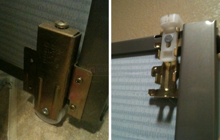 User submitted photos of mirror door hardware.
