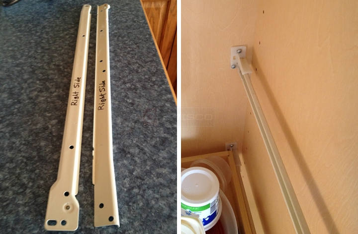 User submitted photos of a drawer track.