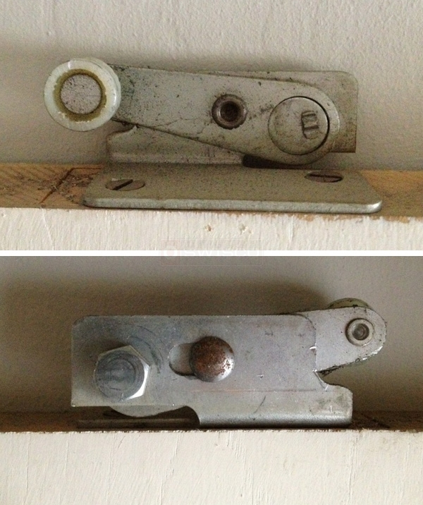 User submitted photos of pocket door hardware.