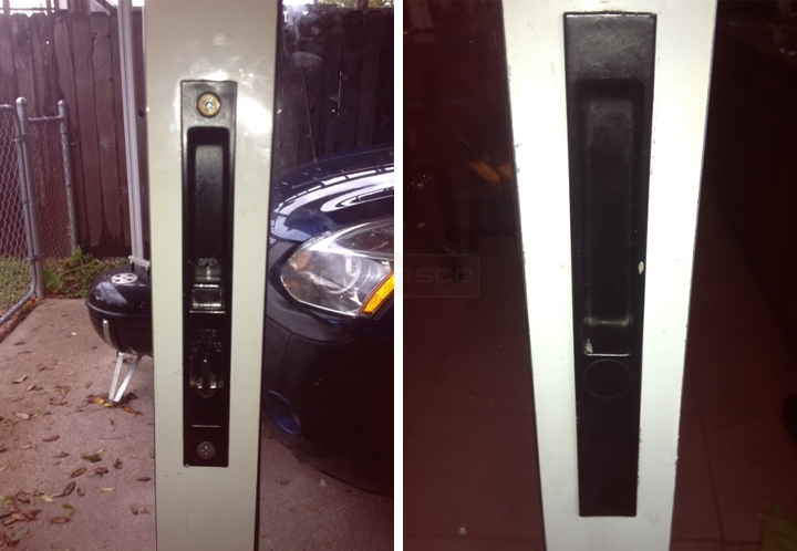 User submitted photos of a patio door handle.