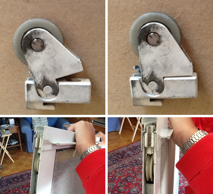 User submitted photos of a screen door rollers.