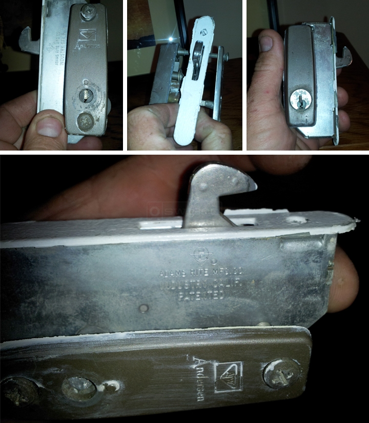 User submitted photos of a patio door latch.