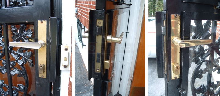 User submitted photos of security door hardware.