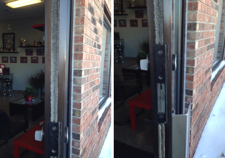 User submitted photos of commercial door weatherstripping.