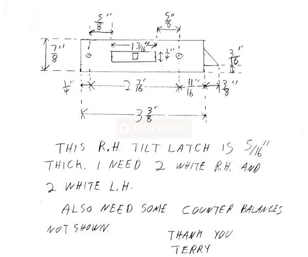 User submitted a diagram of a tilt latch.